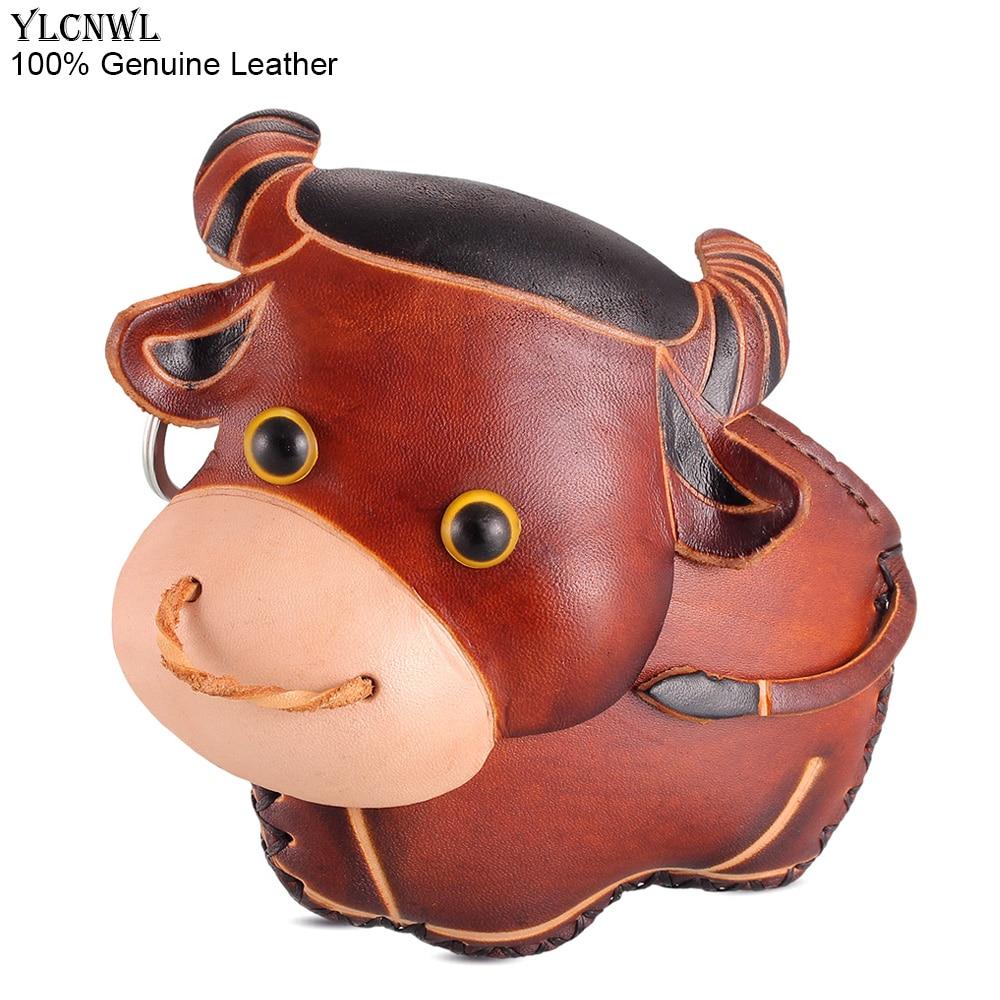 Schlüsseltasche, roter oder brauner Stier oder Kuh-Bulle als Geldbörse, kleine Leder-Tasche (ca. 17cm) Mini-Taschen Kuh