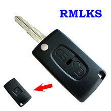 Capa para chave remota automotiva, para peugeot 4007 et 4008, para citroen c-crosser c4 aircross, 2 botões chave fob MIT-11R lâmina