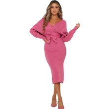 Dress Winter Womens Lantern Sleeve Solid Color Fashion Sweater Knit Long Women Clothes Dresses Woman Party Night