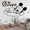 Disney пользовательское имя Микки мышь Наклейка на стену Декор Детская Дети Детская комната украшения настенные росписи стены наклейки на сте...