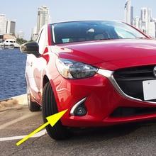 Krom ön sis işık Styling kapağı 2015 2016 Mazda2 DJ DL sis işık Trim kaş Sedan Hatchback aksesuarları