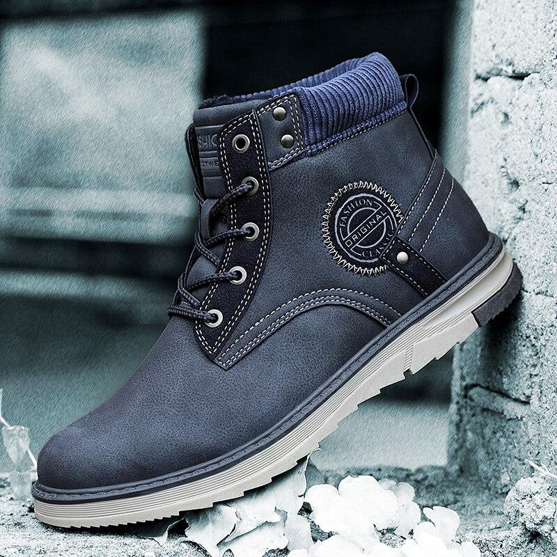 Coturno bottes hautes hommes en cuir gris hiver bottes de neige hommes imperméables avec de la fourrure garder au chaud bout rond bois bottillons Land chaussures