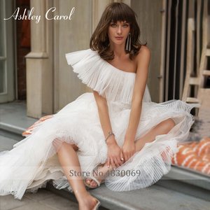 Image 3 - Ashley Carol One Shoulder Wedding Dresses 2020 Vestido De Noiva Tiered Ruffles Tulle Sleeveles Bride Beach A Line Bridal Gowns