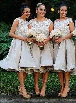 Grey Lace Chiffon Bridesmaid Dresses Tea Length Elegant Bridesmaid Dress Chiffon With Appliques Wedding Guest Dress stand collar lace tea length dress page 4