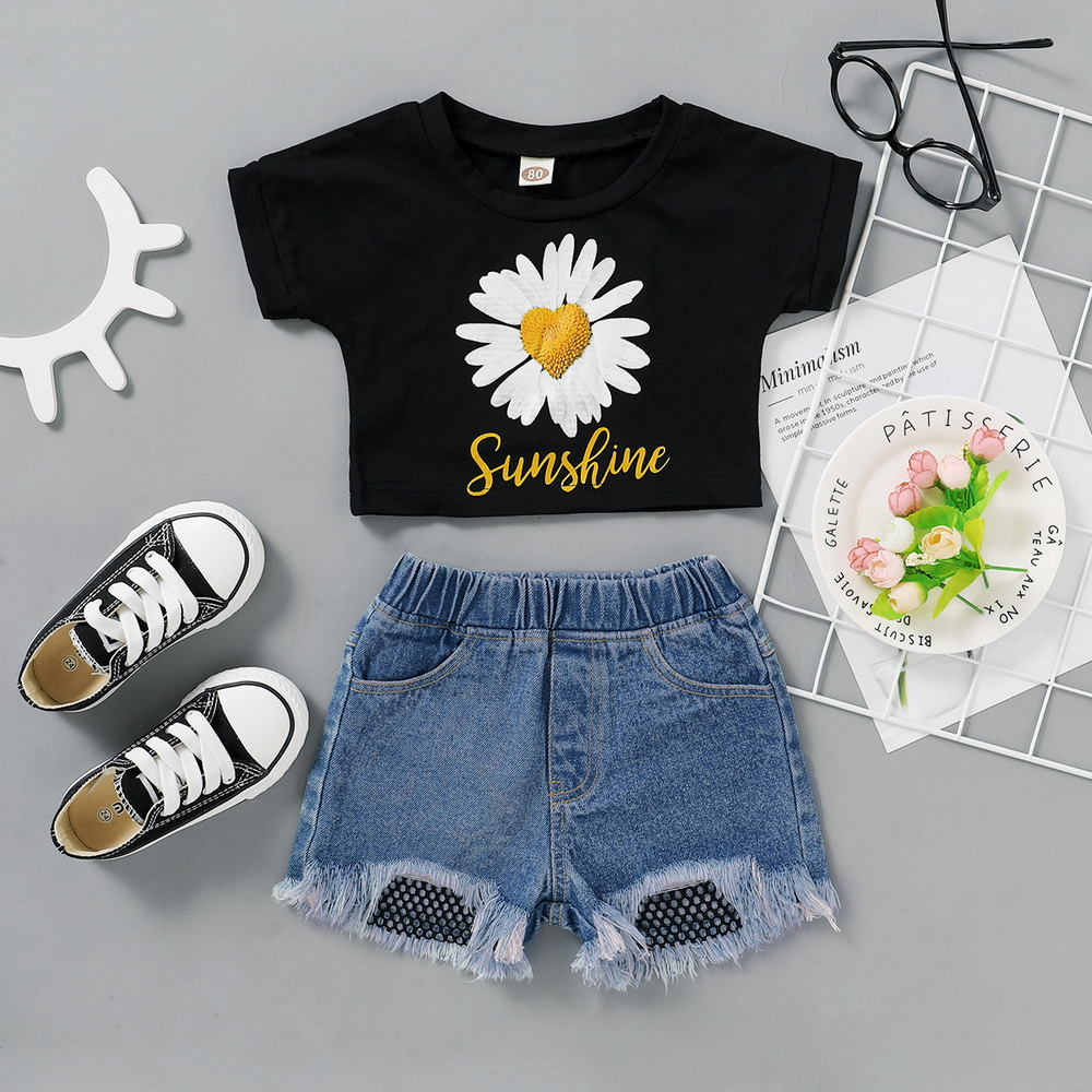 Daisy Print Baby Girls Clothes Set 2Piece Crop Top+Hole Jeans Summer Short Sleeve Toddler Girl Clothing Floral Baby Outfits Q30