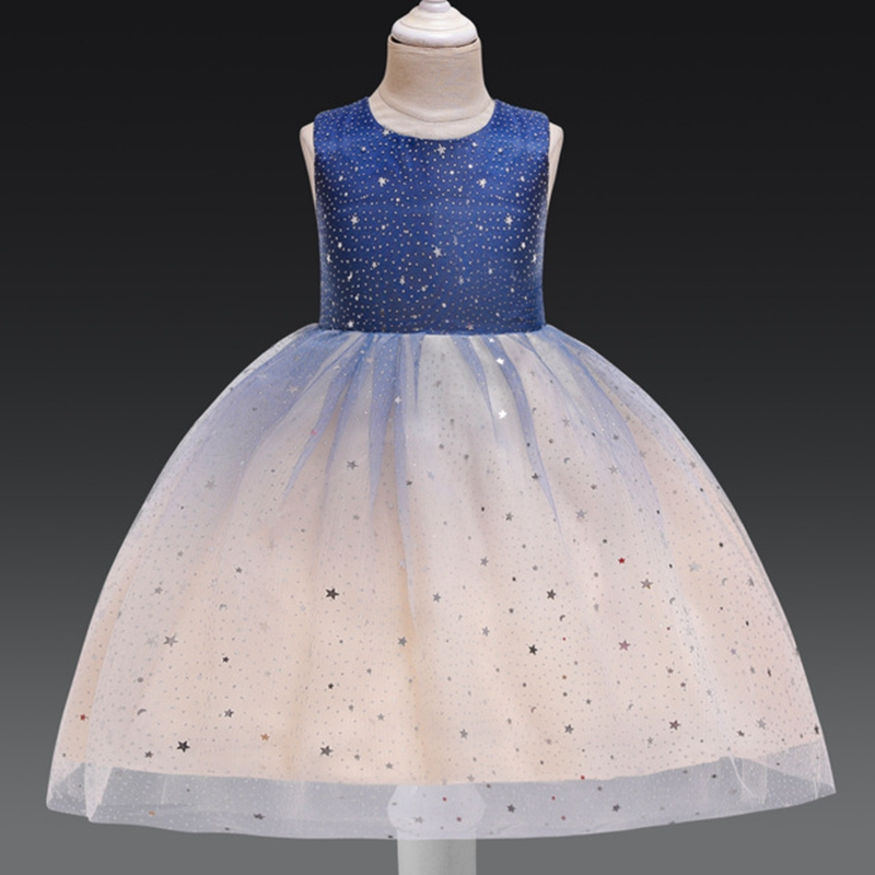 New Lady Girl Wedding Party Starry Sky Dress Girl Baptist Eucharist First Exchange Dinner Lace Sequins Dress
