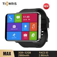 2020 New Ticwris Max 4G Android Watch 2.86 Big Display 3GB 32GB Face ID 2880Mah 8MP Camera GPS Men Smart Watch For IOS Android