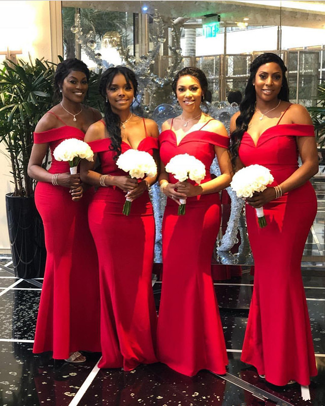 Red 2019 Cheap   Bridesmaid     Dresses   Under 50 Mermaid Off The Shoulder Long Wedding Party   Dresses   For Women