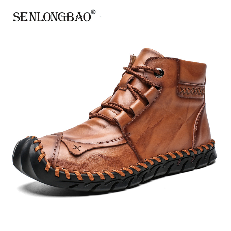 New Winter Men Warm Casual Ankle Boots Fashion Snow Boots Comfortable Men Walking Shoes Soft Leather Flat Man Boots Size 38-48
