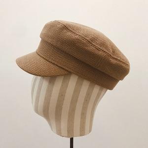 Image 5 - Summer 2020 Japan Net Red Same Hemp Like Breathable Fabric Flat Top Small Military Cap Couple Cap Fashion Cloth Cap Women Hats