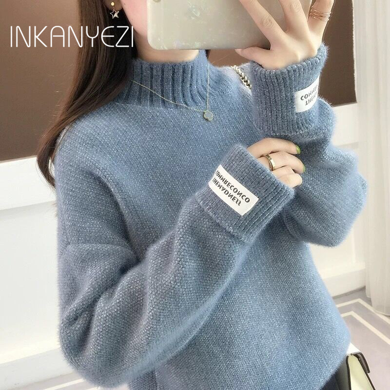 Mink Cashmere Knitted Sweater Women Turtleneck For Autumn Winter 2019 Long Sleeve Jumper Korean Ladies Pullover Female -85