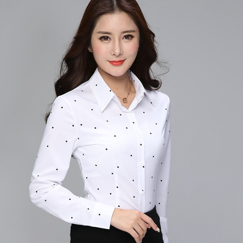 Fashion Korean Women Blouse Spring Long Sleeve Dot Women Shirts 3XL Female Offics Lady Work Shirts Tops Blusas Mujer De Moda