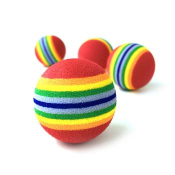 Cat Toys Ball Pet Supplies Play Chewing Rattle Scratch 3.5cm Rainbow Cat Toy Ball 4