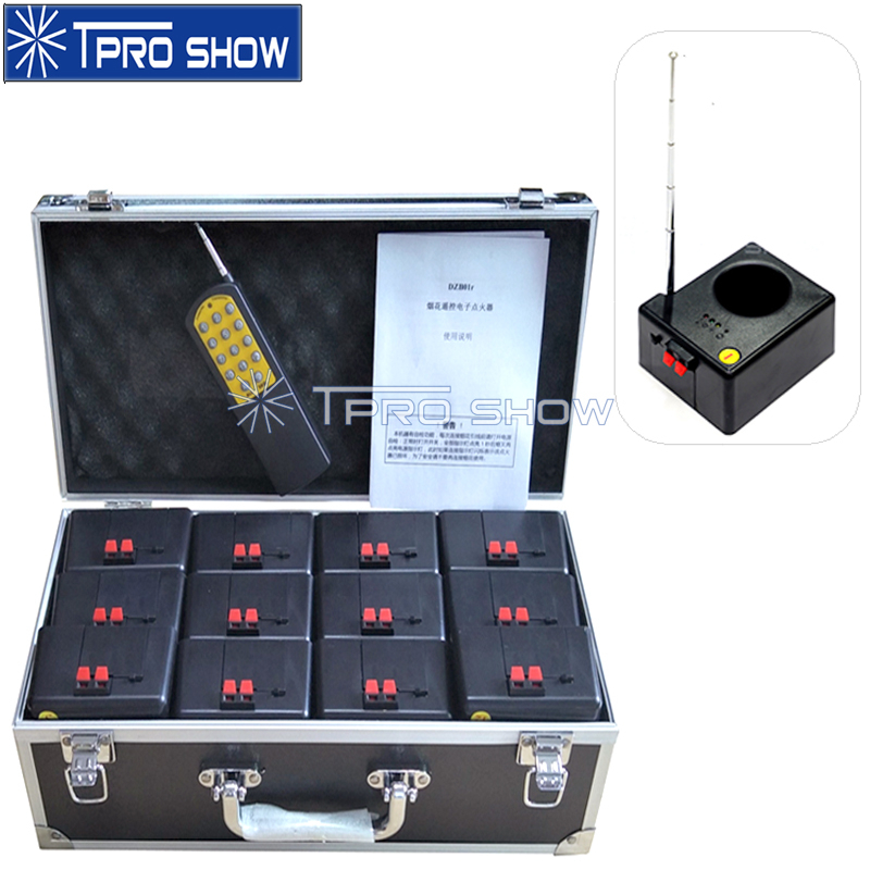 12Pcs Weddings Fireworks Control System Cold Fountain Launcher Party Stage Effect 14 Key Controller Antenna Cues Base 1 Flycase