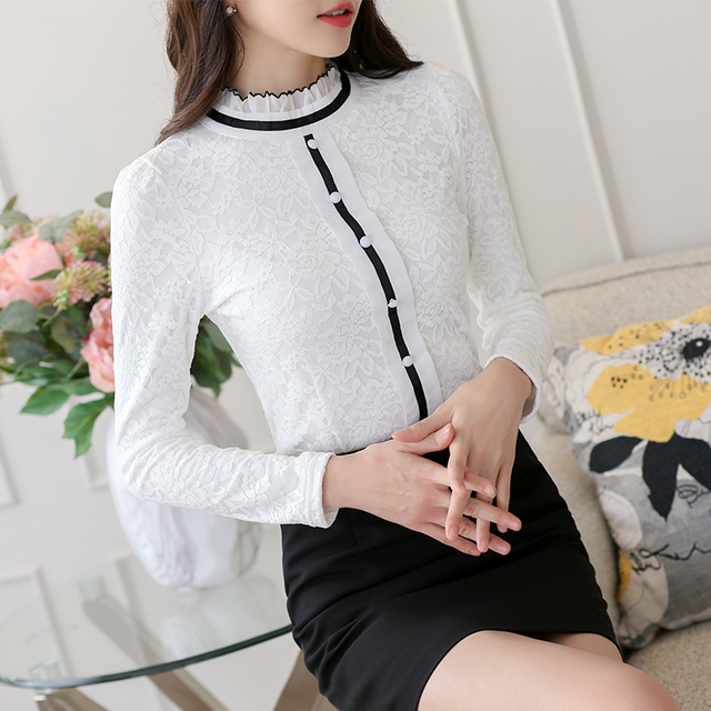 2020 Women Elegant Long Sleeve Shirt Lace Blouse Female Stand Puff Sleeve Solid Tops Shirt plus size 3XL 3