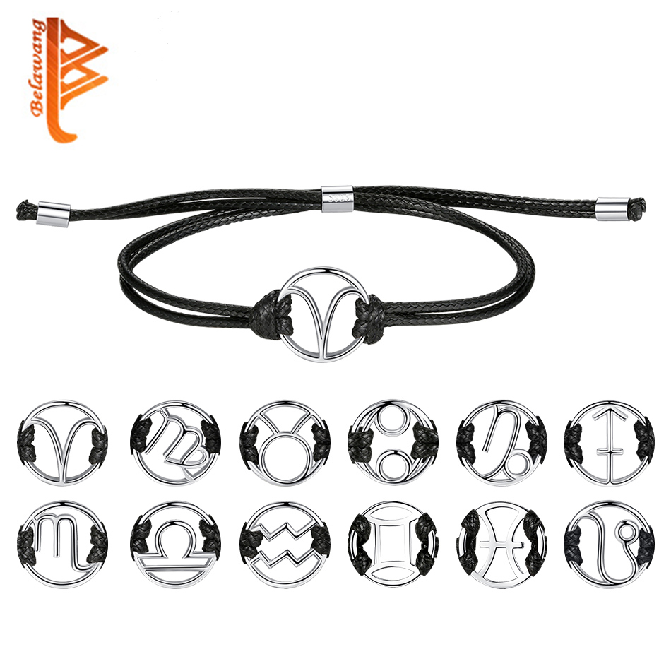 Fashion Virgo Star Sign Zodiac Charm Black Leather Bracelets & Bangle 925 Sterling Silver Bracelet For Women Men Wedding Jewelry