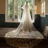 Wedding Veil 3 Meters Long Bridal Veils Champagne Applique One layer Bride Wedding Accessories In Stock 2020