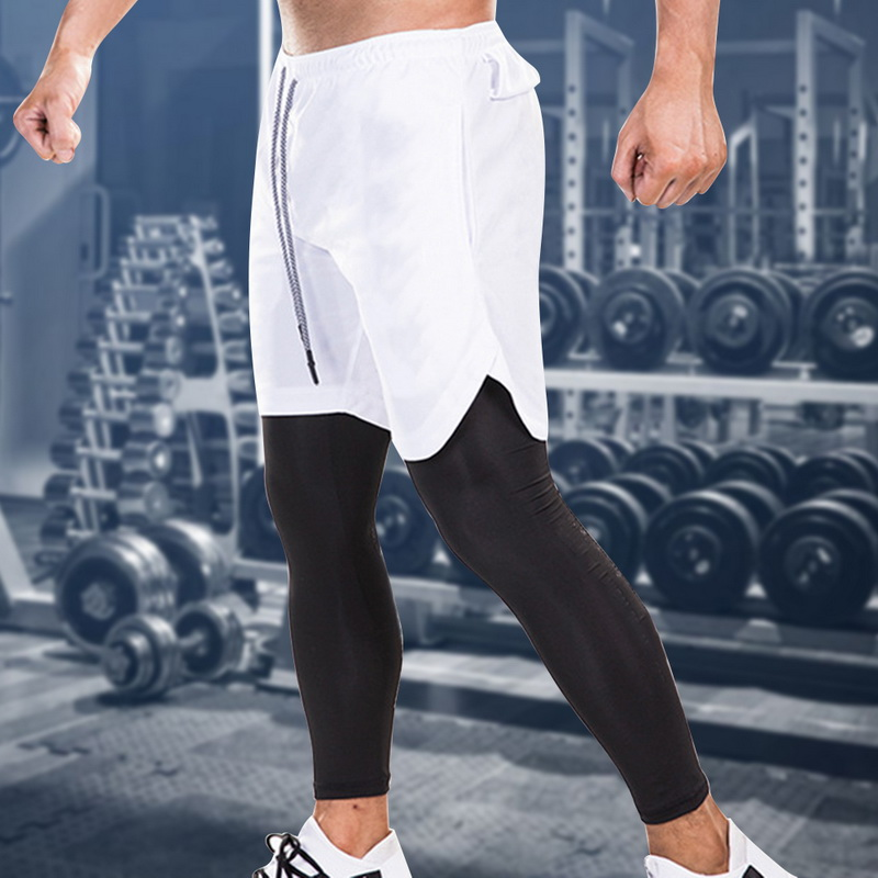 Men Summer New Sweatpants New 2 In 1 Skinny Sports Pants  Elastic Quick Drying Gym Fitness Pants With Built-in Hips  Pockets