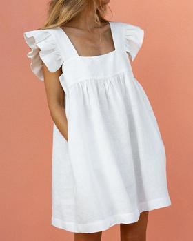 Women Elegant Fashion 2020 Summer Ruffles Pockets Short Sleeve Mini Dress Solid Square Neck Ruffle Sleeve Dress Stylish Casual elegant scoop neck abstract print short sleeve dress for women