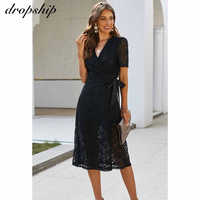 Dropship Midi Mesh koronkowa sukienka z krótkim rękawem lato Casual eleganckie sukienki dla kobiet sukienka biurowa Bodycon sukienki damskie Casual eleganckie