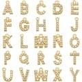 ZHUKOU 8x 8,5mm Messing Zirkonia Kristall 26 Brief Charms Anhänger für Frauen Halskette ohrring schmuck zubehör modell: VD545