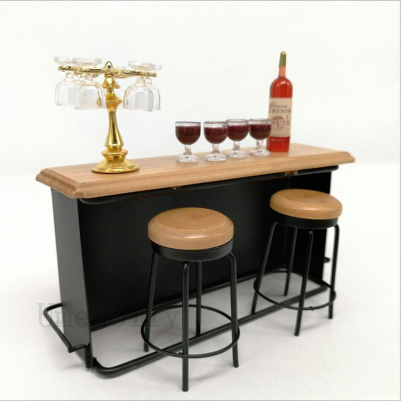 1 Set Miniature Dollhouse Bar Counter Mini Wine Bottle Champagne Glass Holder Rack Play Kitchen Furniture Toy Accessories