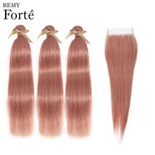 Remy Forte Straight Hair Bundles With Closure Pink Bundles With Closure Brazilian Hair Weave Bundles 3/4 Colored Hair Bundles remy forte straight hair bundles with closure pink bundles with closure brazilian hair weave bundles 3 4 colored hair bundles