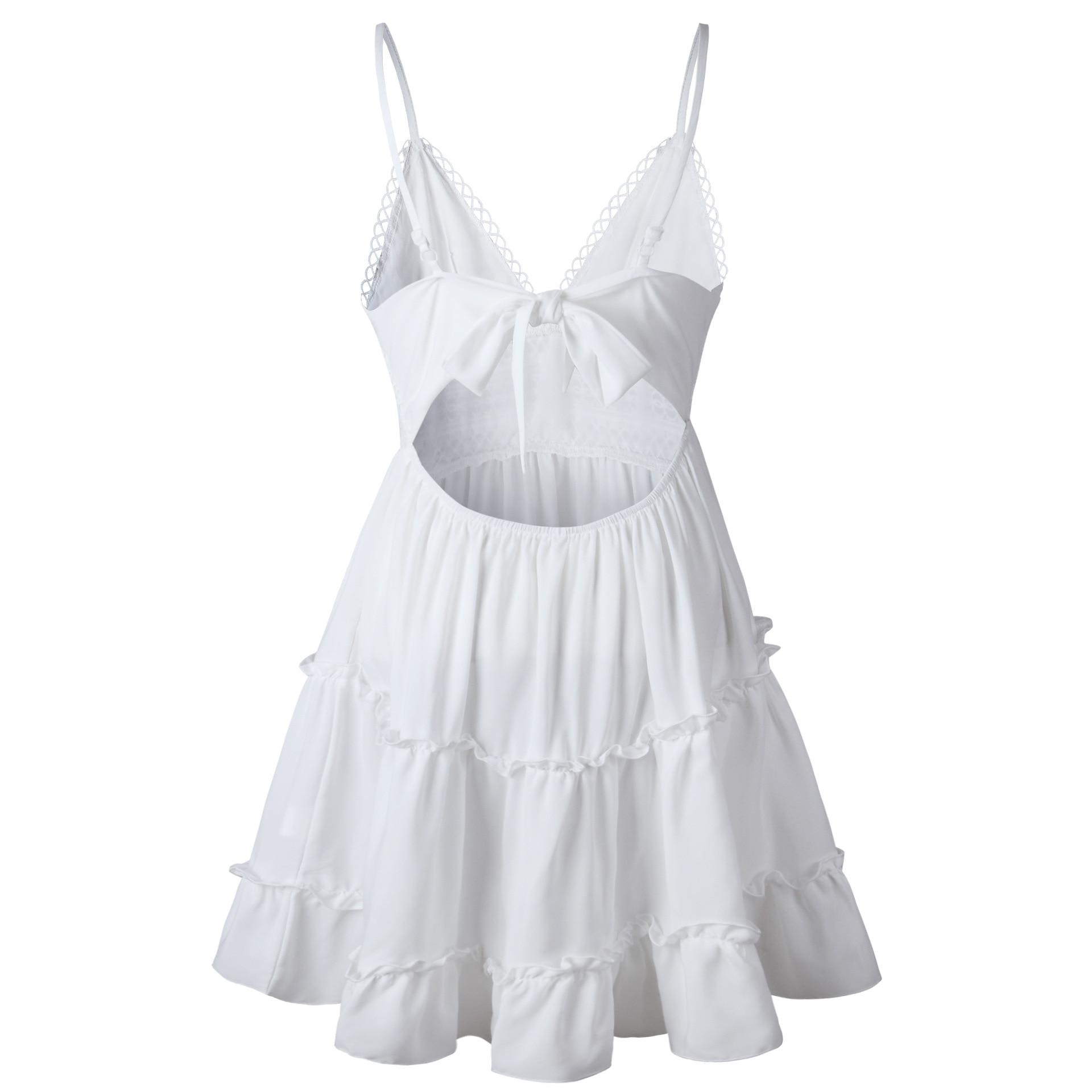 Summer Women White Lace Halter Dress Sexy Backless Beach Dresses 2020 Fashion Sleeveless Spaghetti Strap Casual Mini Sundress 2