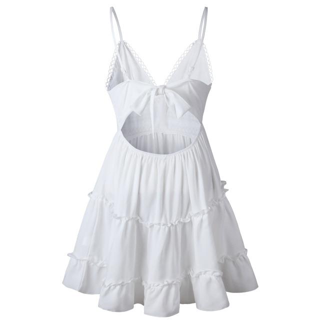 Summer Women White Lace Halter Dress Sexy Backless Beach Dresses 2020 Fashion Sleeveless Spaghetti Strap Casual Mini Sundress