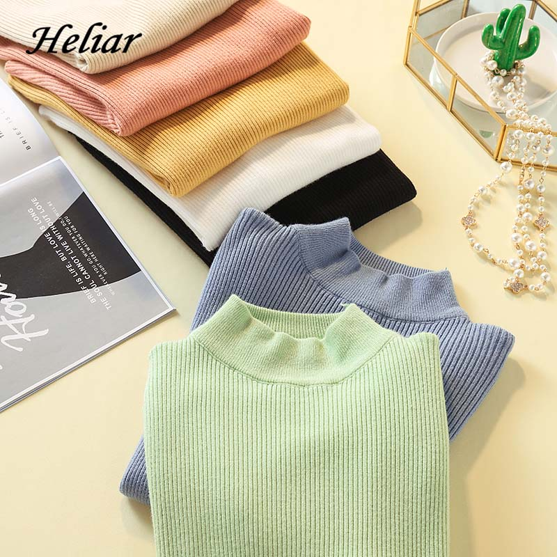 Heliar Solid Plain Round Neck Autumn Winter Sweater Female Elasticity Pullovers Casual Thin Knitted Tops Sweater For Women