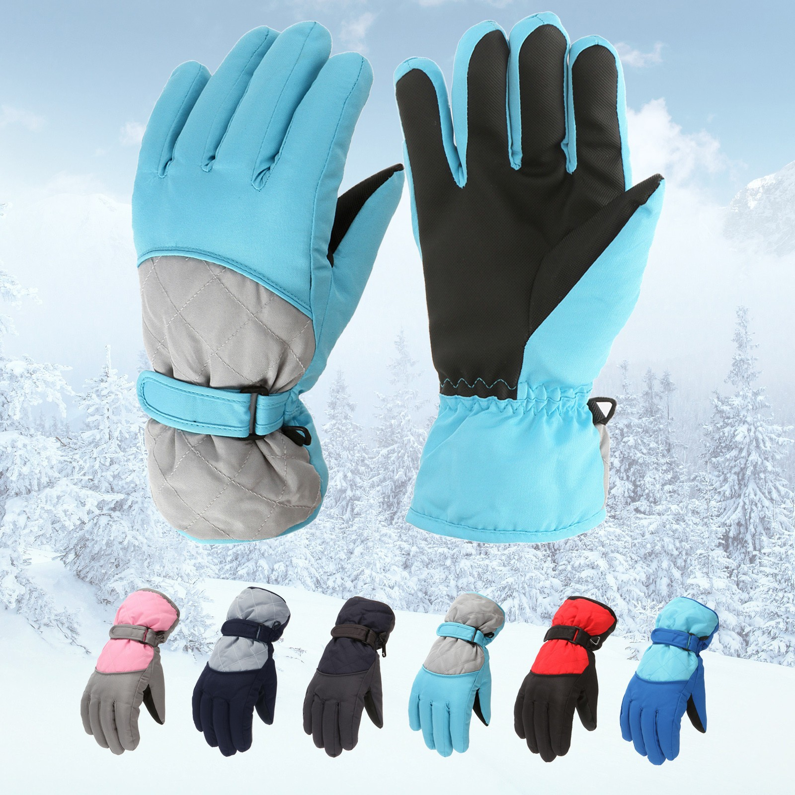 Waterproof Winter Skiing Snowboarding Gloves Warm Mittens For Kids Boys Girls Full-Finger Gloves Strap For Sports Skiing Cycling