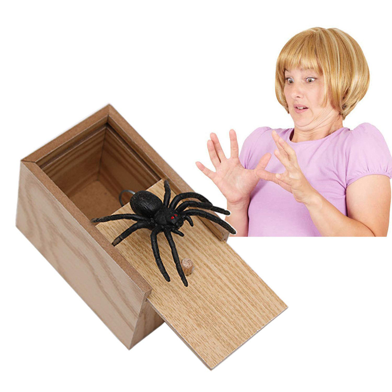 Fool's Day Gift Wooden Prank Trick Practical Joke Home Office Scare Toy Box Gag Spider Mouse Kids Funny Play Joke Gift Toy