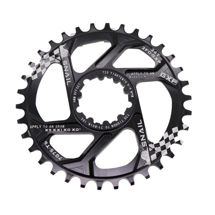 SNAIL Al Alloy Mountain GXP MTB Bike Round Chainring 30-38T 6mm Offset Muticolor