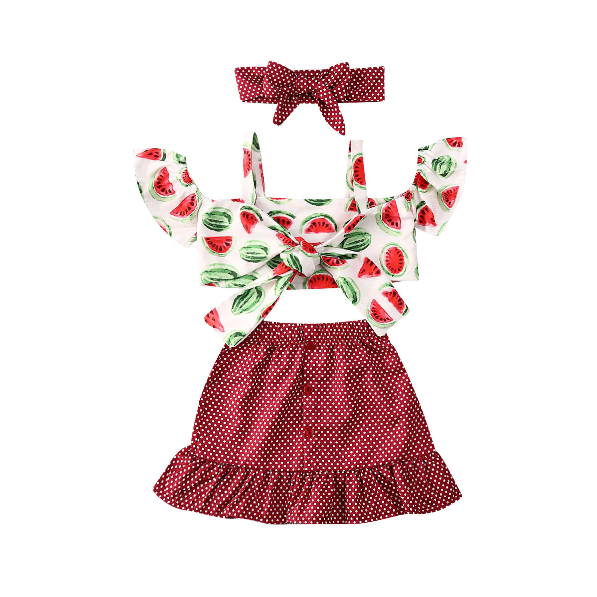 Toddler Kids Baby Girls Outfit Birthday Ruffle Plaid Tops+Pants Shorts Headband