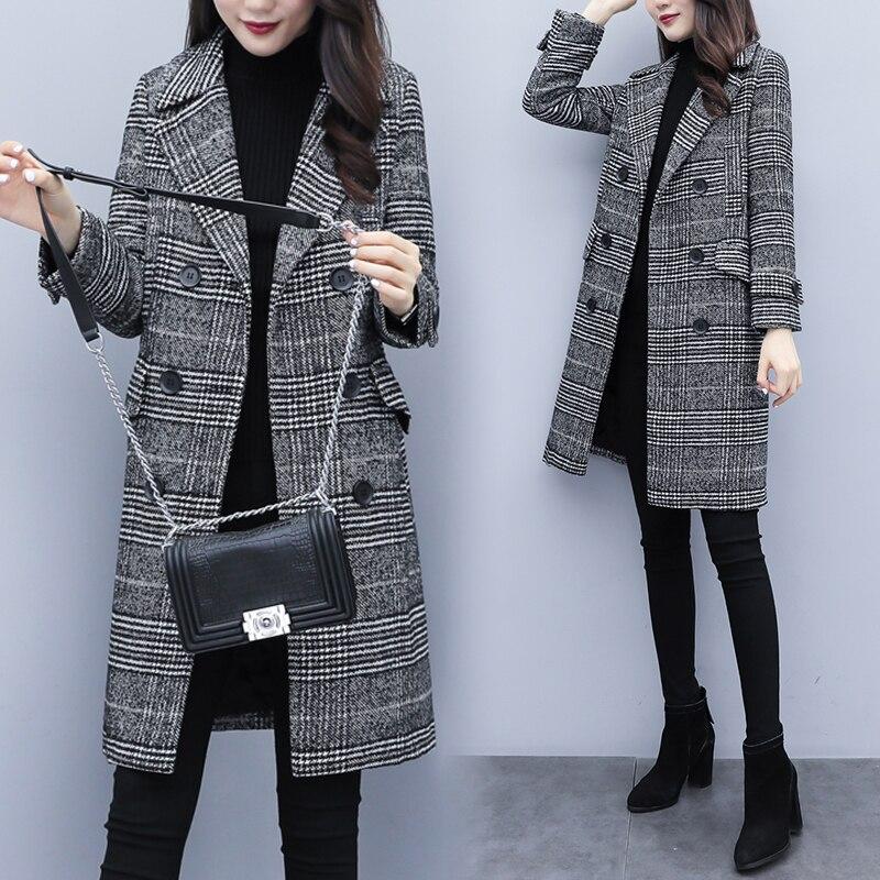 Misturas de lã Hodisytian Inverno Mulheres Xadrez Trench Coat Feminino Elegante Ocio Outerwear Lazer Grosso Cardigan Cashmere Cabolsa