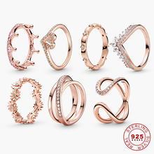 New Products 925 Sterling Silver Ring & Rose Gold Color Crown Infinity Heart Band Wave Rings for Wemen Wedding Rings Jewelry