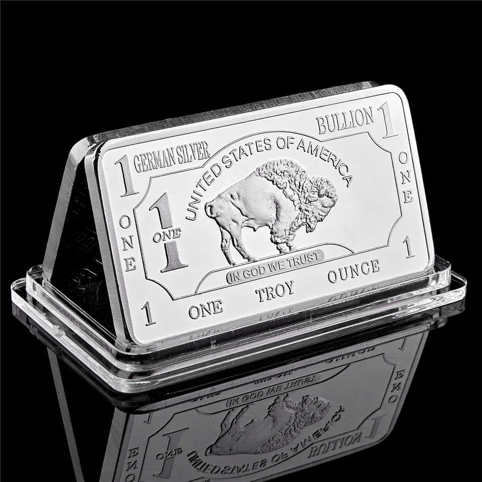 Duitse Mint 1 Troy Ounce Buffalo Duitse Silver Bullion Bar Replica Munten Collection
