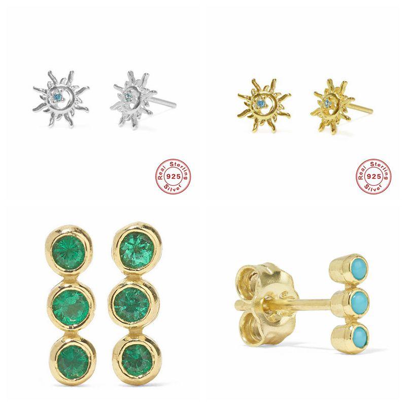 Real 925 Sterling Silver Sun Flower Stud Earring For Women Earrings Three Green Stones In A Single Row Earing A30