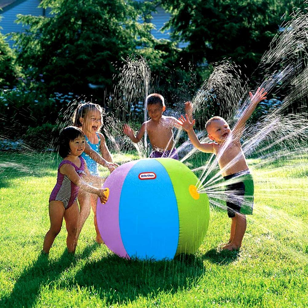 New 75CM Rainbow Inflatable Beach Ball Spray Water Ball Children's Summer Outdoor Swimming Beach Pool Play The Lawn Balls Playin
