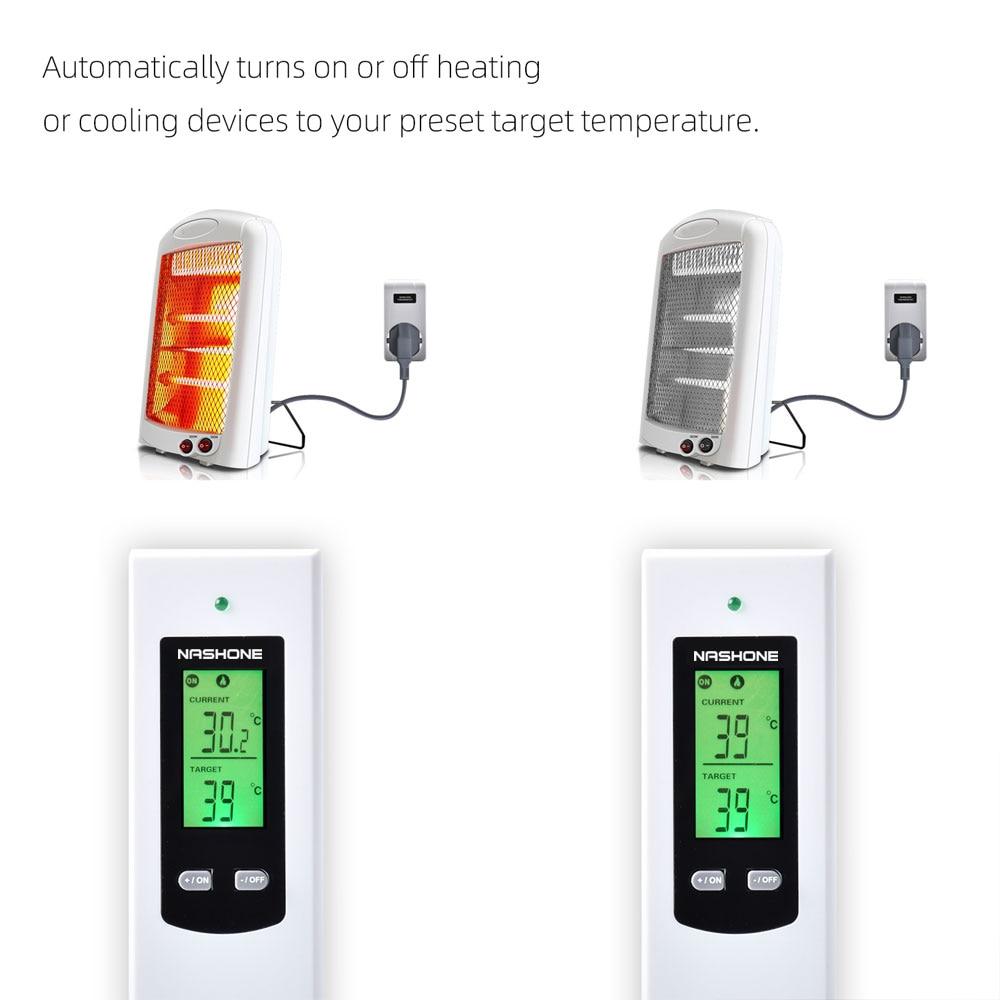 Nashone Thermostat Digital Temperatur Control Wireless Thermostat 220V LCD Display Temperature Controller socket with thermostat 6