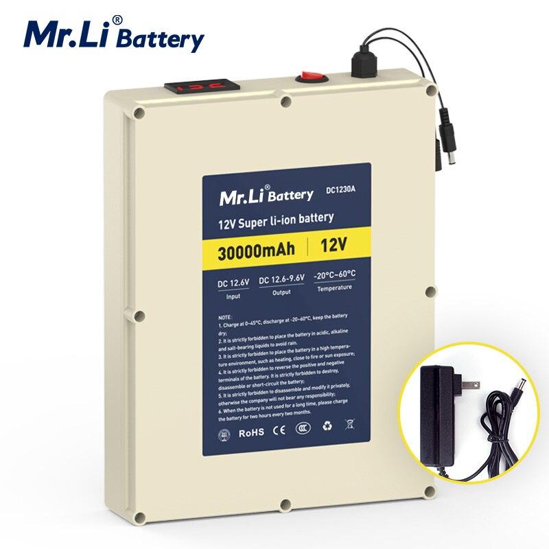 Mr.Li 12V 30Ah batería de litio recargable de gran capacidad BMS integrada para fuente de alimentación al aire libre máquina de aromaterapia