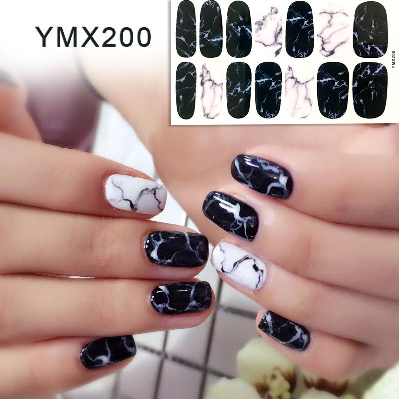 14tips/sheet White Black Gradient Marble Nail Art Sticker Waterproof Adhesive Slider Manicure Full Wraps Tools Decor Wholesale