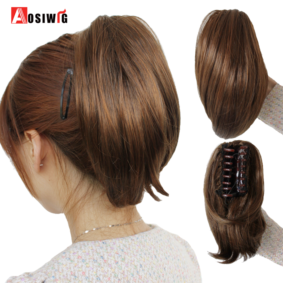 AOSIWIG Short Straight Claw Clip In Ponytail Cute Girls Hair Heat Resistant Synthetic Black Gray Red Extensions Wig Hairpiece