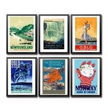 Nowa fundlandia Niagara Falls norwegia pielęgniarki Oceania palestyna Panama Peru filipiny polska Vintage plakat z podróży