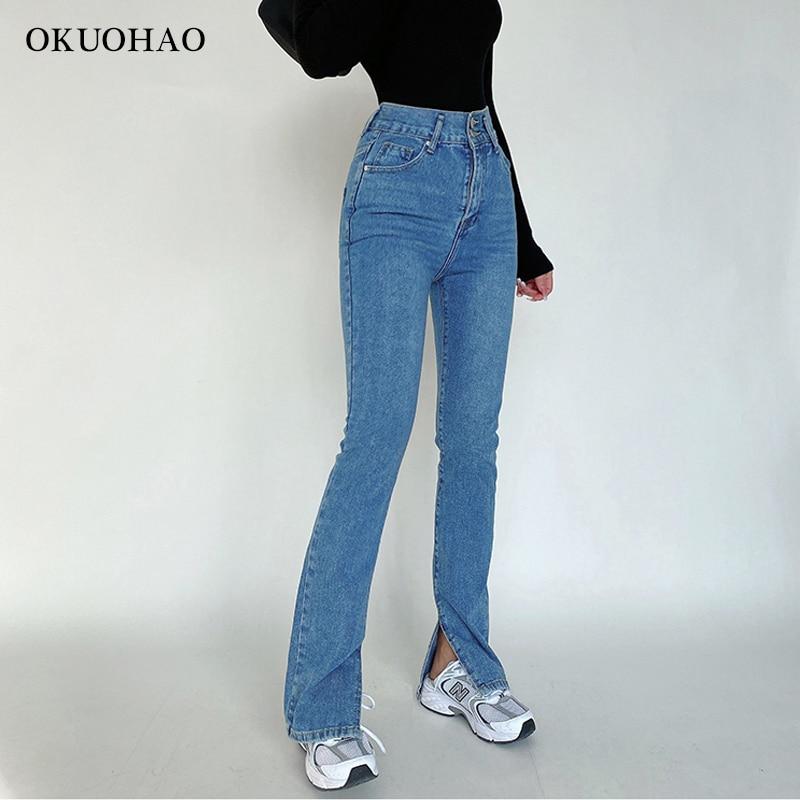 Women's Jeans High Waist Denim Pants Trousers For Female Fashion Elasticity Flared Jeans Split Boot Cut Wide Leg Pant 2021 5