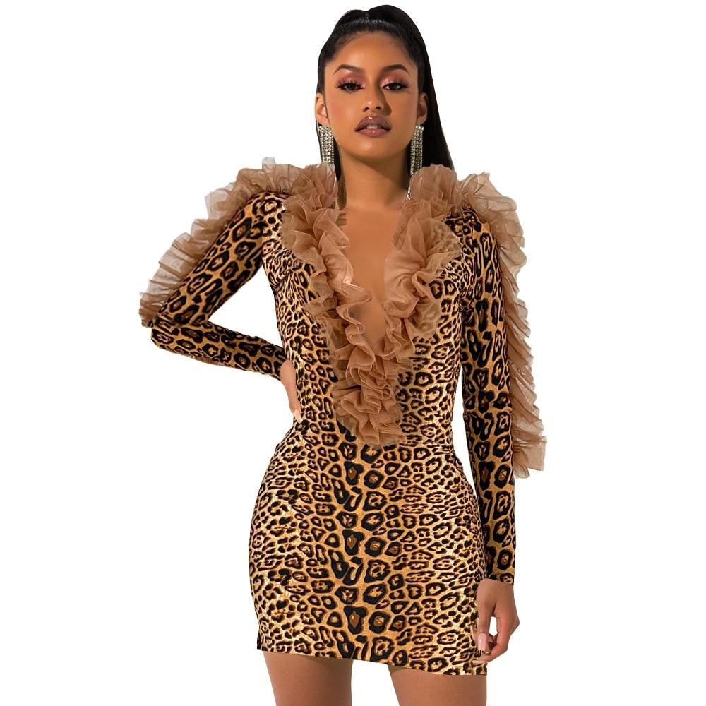 Echoine Lace Ruffle fluorescent Mini Dress Sexy Leopard Elegant Evening Party Night Bodycon Robe femme Club Outfits vestidos|Dresses| - AliExpress