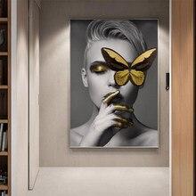 Figure moderne poster e stampe ragazza e oro farfalla Gioia tela pittura quadri astratti per soggiorno decorazioni per la casa