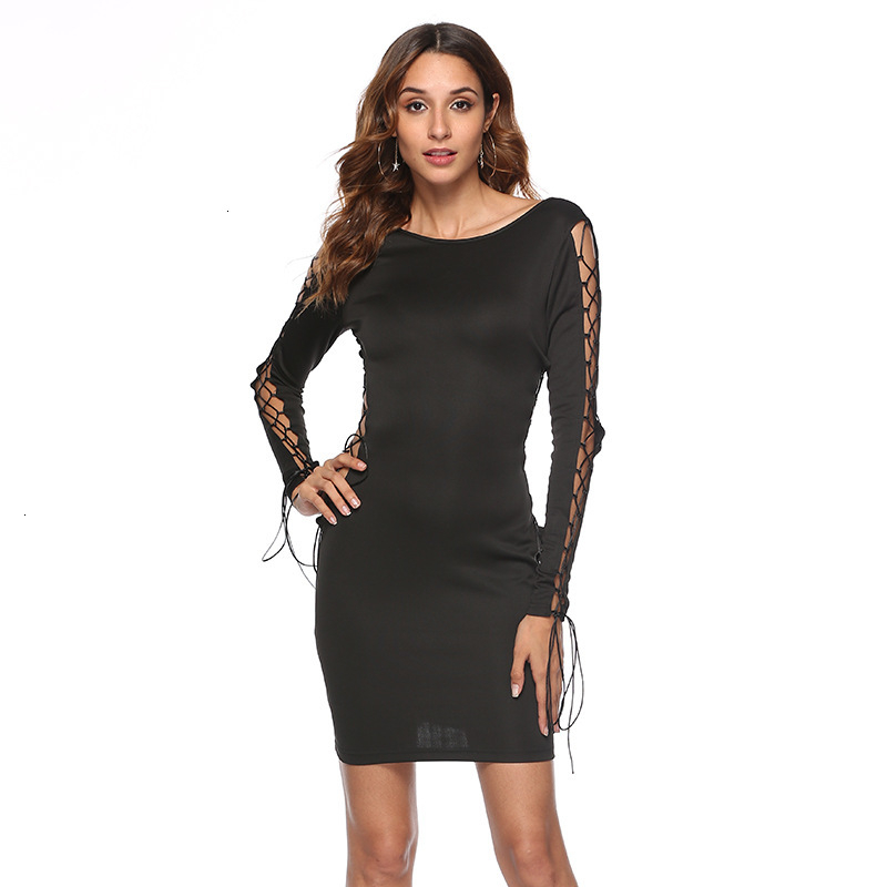 BGW Autumn Sexy O-Neck Hollow Out Long Sleeve Cocktail Dress Lace Up Homecoming Dress Ever Pretty Black Women Dress Vestidos