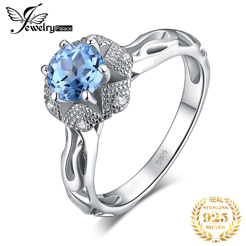 JewelryPalace Genuine Blue Topaz Ring 925 Sterling Silver Rings For Women Solitaire Engagement Ring Silver 925 Gemstones Jewelry