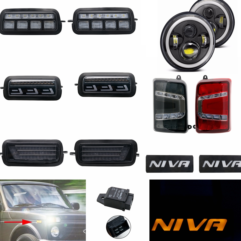 2x Car Styling 7inch LED Headlight Side Marker Light Tail Lights For Lada Niva 4x4 1995 - 2019 Daytime Running Lights With Relay